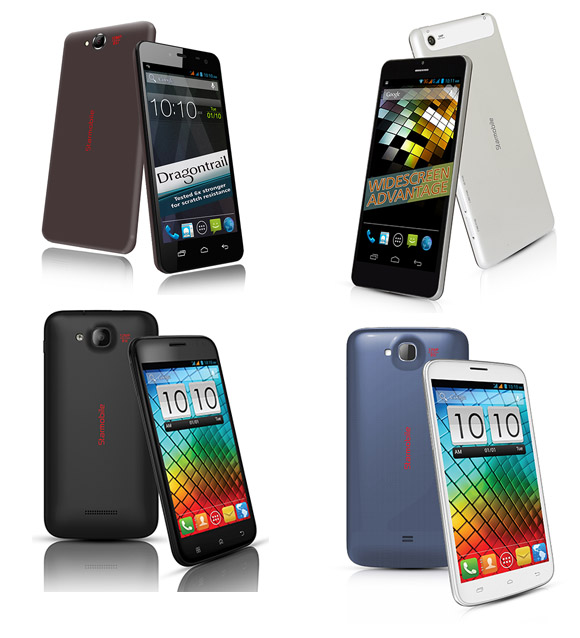 Clockwise from top-left: Starmobile Diamond D1, Diamond D2, Diamond S2, Diamond S1
