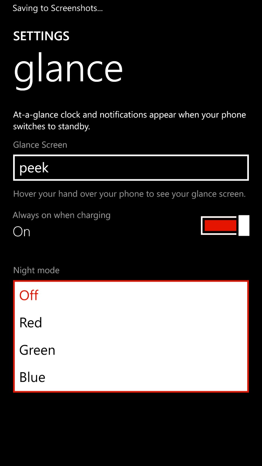 You can now choose three colors for Night Mode in Lumia Black instead of just red in the Amber update.