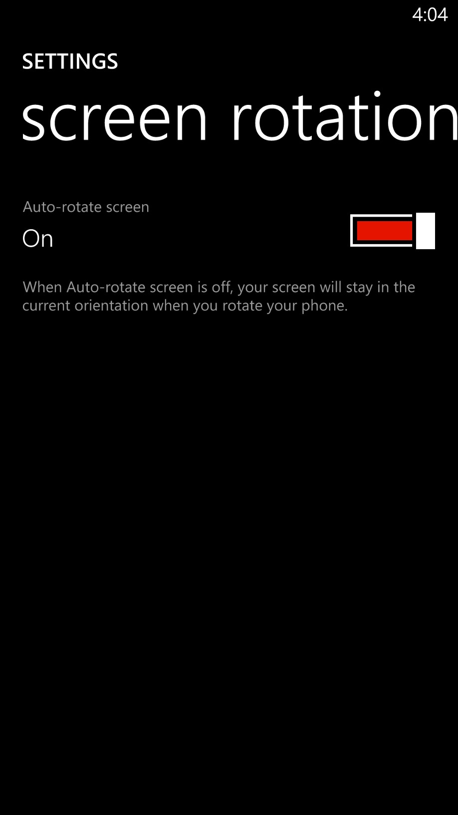 Screen rotation is a long overdue feature that is finally available on Windows Phone.