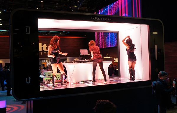 Over at the DTS booth, the focus this year was to gear up audio quality of mobility equipment to the next level. To that extent, they had a huge mock phone and show girls partying within it non-stop!