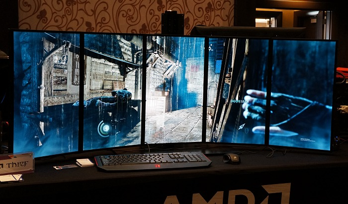 Fancy playing Eidos' latest Theif instalment on 5 immersive screens? While the integrated GPU supports AMD Eyefinity, you'll need much more horsepower for this.
