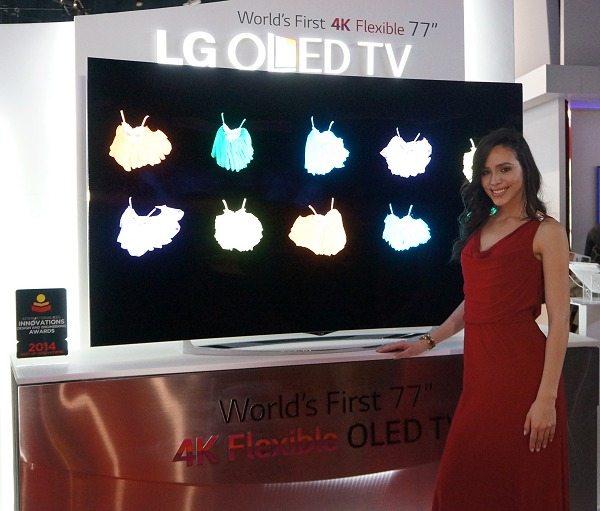 LG's 77-inch Flexible UHD OLED TV.