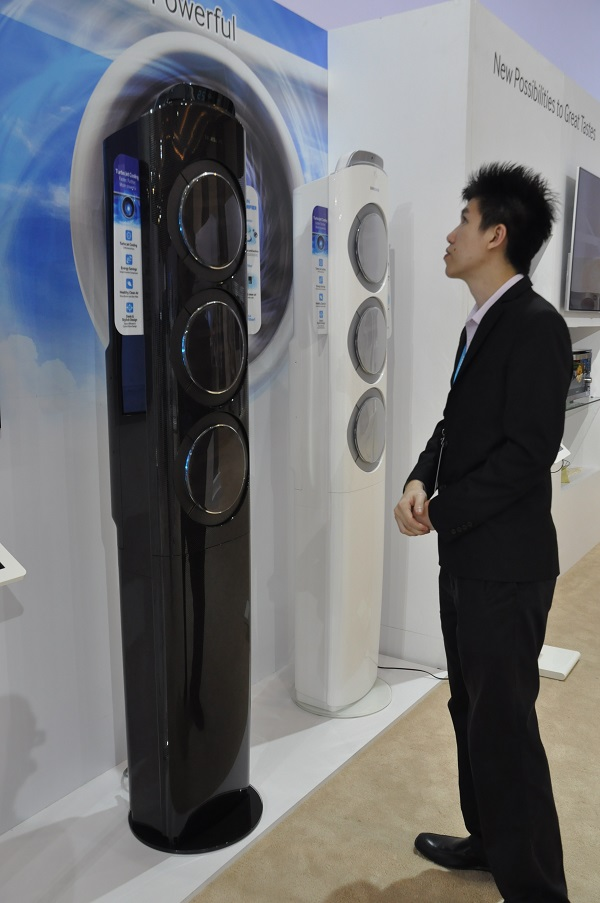 Towering Samsung Q9000 air conditioners are also present during the regional event.