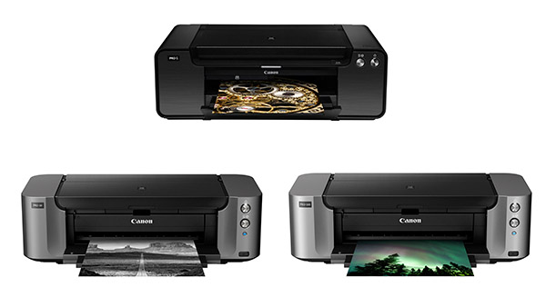 (From top to bottom, left to right) The PIXMA Pro-1, Pro-10, and Pro-100.