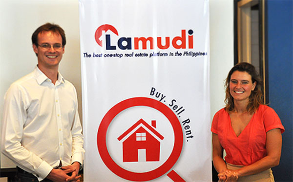 Paul Philipp Herman, Co-founder at Lamudi, and Jacqueline van den Ende, Founder and Managing Director at Lamudi PH, pride themselves with Lamudi's newly launched Philippine website.