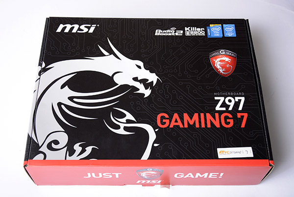 Following the color scheme of MSI's Gaming series, the motherboard comes packed inside a black box with red accents and the dragon logo on the front.
