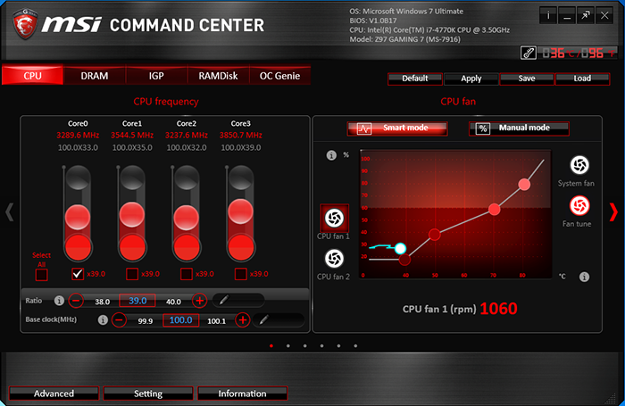 MSI's Command Center is intended for controlling and monitoring the motherboard on the fly, without the need of restarting the system.