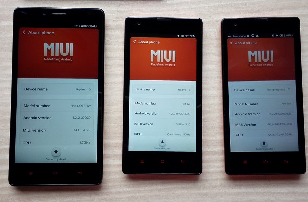 Mi devices run on MIUI. The Redmi Note (left) is notable for its large 5.5-inch touchscreen and 1.7GHz octa-core processor. The devices in the middle and on the right are both Redmi smartphones, though their back covers are different (one is glossy, the other is matte).