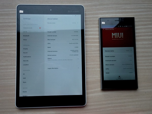Put side by side are the Mi Pad and the flagship Mi 3. The Mi Pad is a tablet powered by NVIDIA's Tegra K1 chipset, whereas the Mi 3 uses a Qualcomm Snapdragon 800AB chipset.