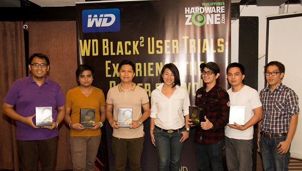 One of the key portions of the WD Black2 technical seminar last Friday was the announcement of the testers for the WD Black2 User Trials: Experience the Power of Two! The testers include (from left to right) Timothy Co, Lorenzo James De Guzman, Lloyd Lester Partoza, Oliver Santos, and Limbert Sanoy. Present also in the photo are WD Philippines Country Manager for Internal HDDs Charlotte Koa (middle) and HardwareZone.com.ph Editor Lionell Go Macahilig (far right).