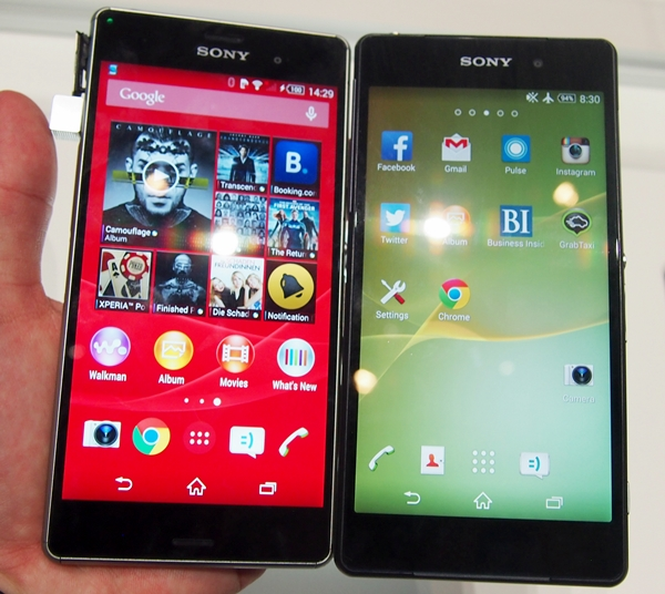 You can't tell the difference between the Sony Xperia Z3 (left) and the Xperia Z2 (right) from the front, although the former sports slightly thinner bezels which is just 2mm thin.