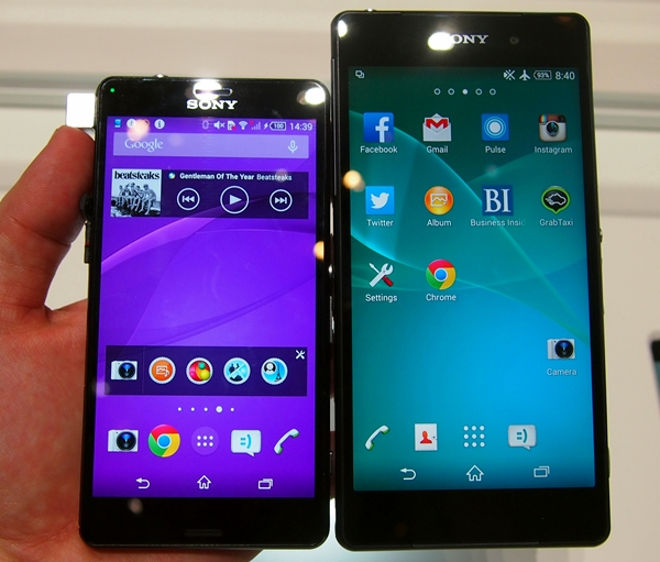 Seen here are the 4.6-inch Sony Xperia Z3 Compact and the 5.2-inch Xperia Z2. The size difference is immense.