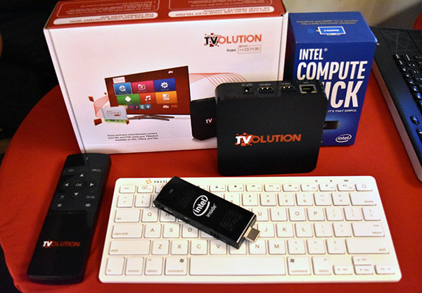 The TVolution Stick has a Bluetooth keyboard and mouse set to instantly turn it into a full-fledged WIndows computer.