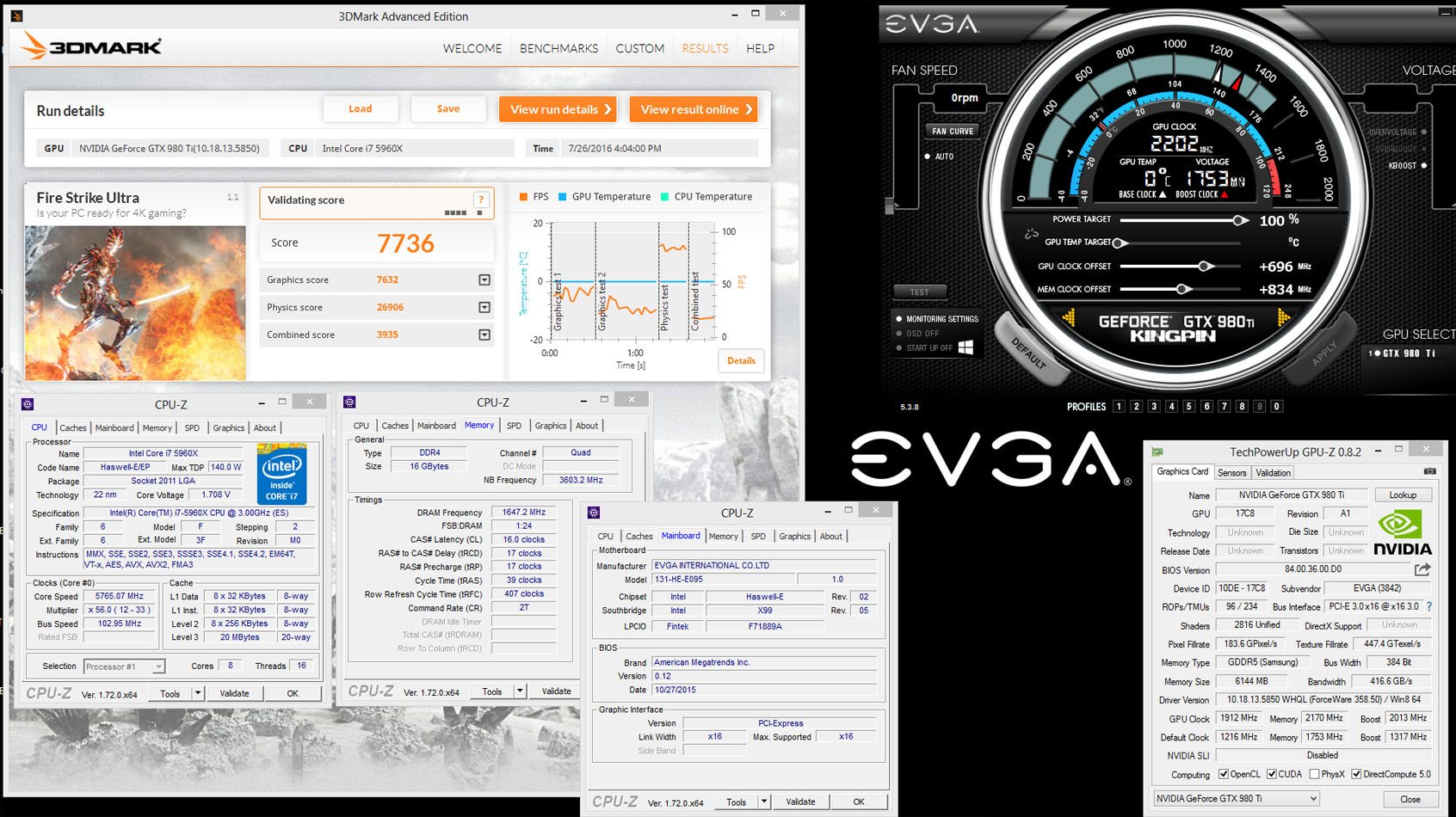 EVGA GeForce GTX 980 Ti Kingpin smashes benchmark records