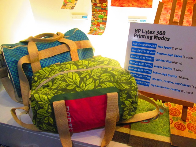 The designs printed on the fabric of these bags are output of the HP Latex 360.