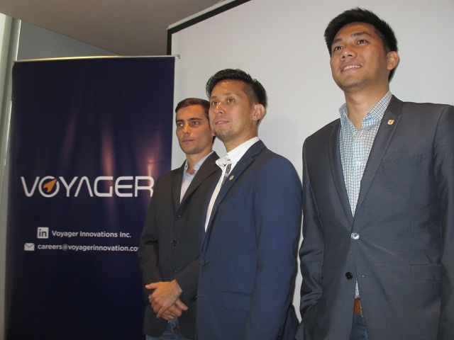 (Left to right) Paolo Azzola, Co-Chief Operating Office of PayMaya Philippines; Mitch Padua, VP for Digital Commerce of Voyager Innovations; and Dindo Marzan, Managing Director and Head of Voyager Business.