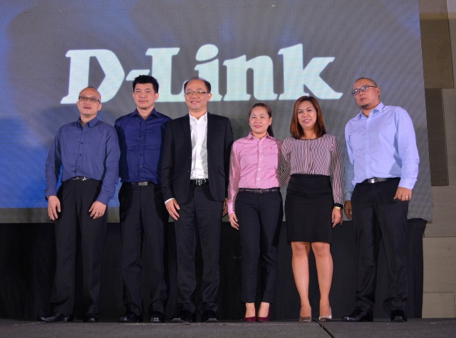 D-Link International Pte Ltd President Jacky Chang (third from left) spearheaded the launch of the company's latest arsenal of networking products for businesses together with other D-Link executives.