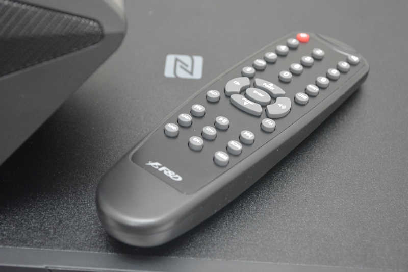 The F&D F550X's remote is powered by two AAA batteries.
