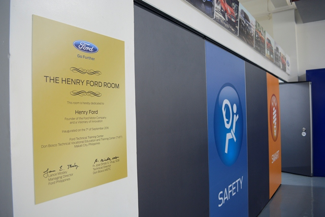 The classroom is dedicated to Henry Ford, the founder and visionary of Ford Motor Company.