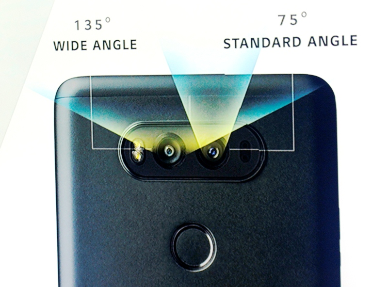 The LG V20 comes with two cameras on the back. Below it is a fingerprint scanner as a security feature.