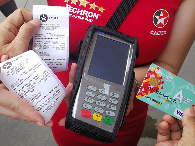 Filipino motorists can now pay for Caltex fuel in less than a minute by just tapping their Visa card on the reader. An official receipt will also be issued in every transaction.