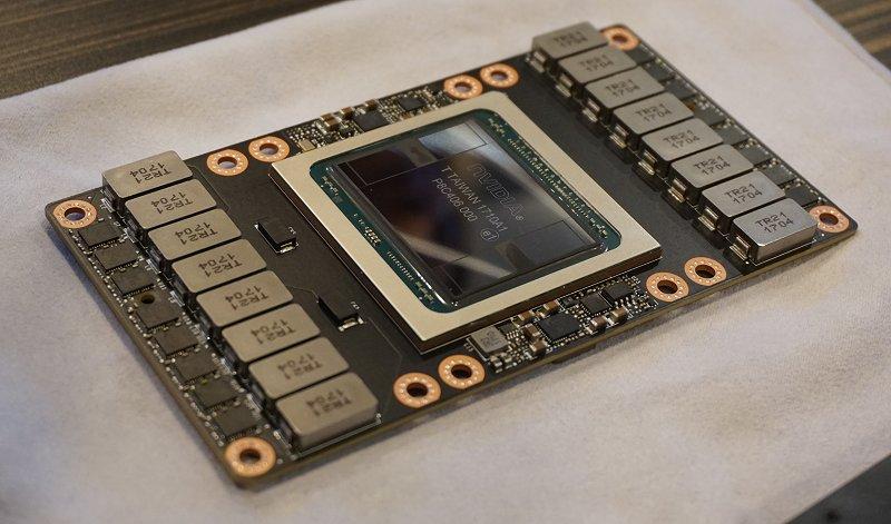 A close-up of an NVIDIA Tesla V100 NVLink GPU module.