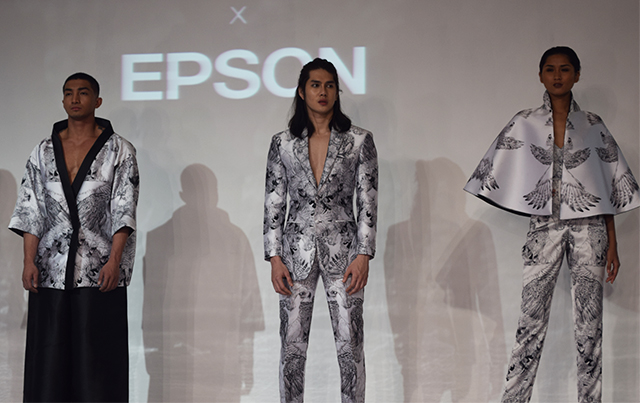 Some pieces of John Herrera's Aguila-inspired collection printed using Epson's next-generation textile dye-sublimation printers.