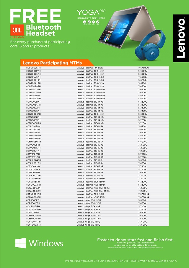 """The list of participating IdeaPad and Yoga models for Lenovo's """"Back To School"""" promo. (Click to have a larger view.)"""