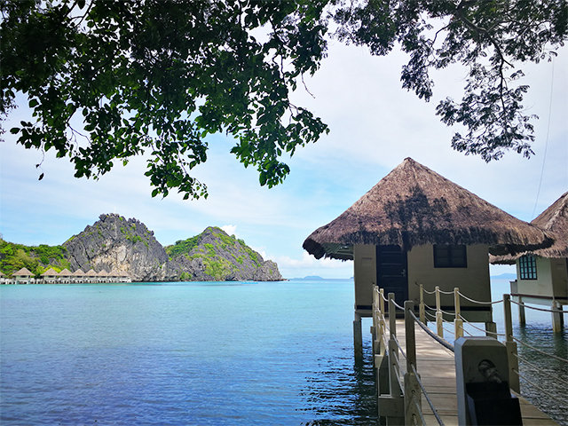 One of Apulit Island's water cottages.