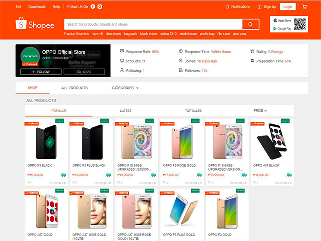 OPPO smartphones are now available in Shopee PH.
