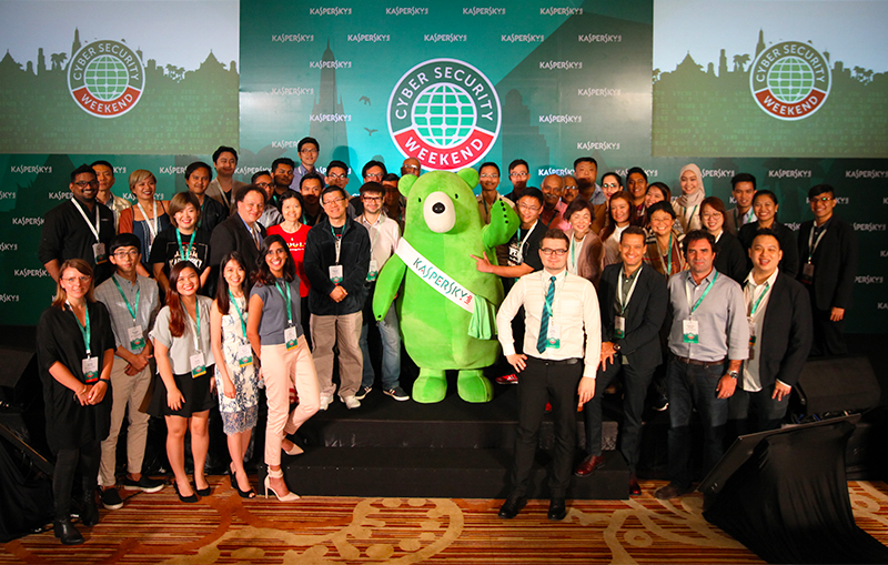 Kaspersky Lab lead researchers and executives with journalists from 11 countries in the Asia Pacific region pose for a photo during the 3rd Cyber Security Weekend Summit held in Phuket, Thailand.