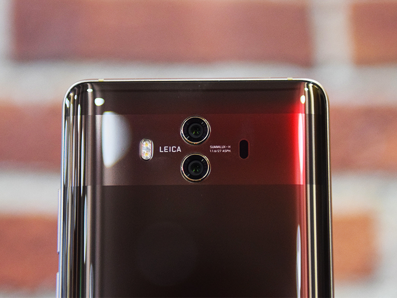 The rear part of the Huawei Mate 10 with its rear camera setup.